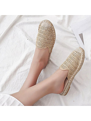 Semi-drag flat shoes with beef tendon bottom