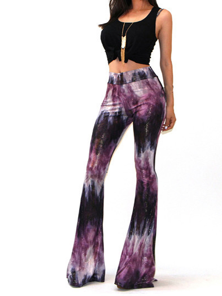 Fashion high waist printed casual trousers wide leg pants