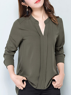 V Neck Casual Long Sleeve Blouse, 10716172