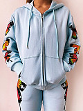 Image of Hat Collar Butterfly Print Long Sleeve Hoodie And Bottom