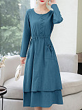 Image of Fake Two Long-sleeved Round Neck Dresses