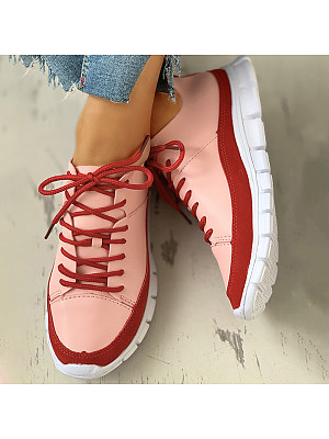 Women's Colorblock flat heel round head fashion comfortable Sneakers, 23815660