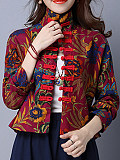 Image of Autumn and winter new linen retro print disc button short coat jacket