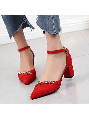 Flat buckle with rhinestone suede temperament pointed heels, 11265782
