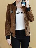 Image of Gold velvet plus velvet thick loose jacket baseball uniform