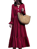 Image of V-neck Waist Solid Color Long Sleeve Dress