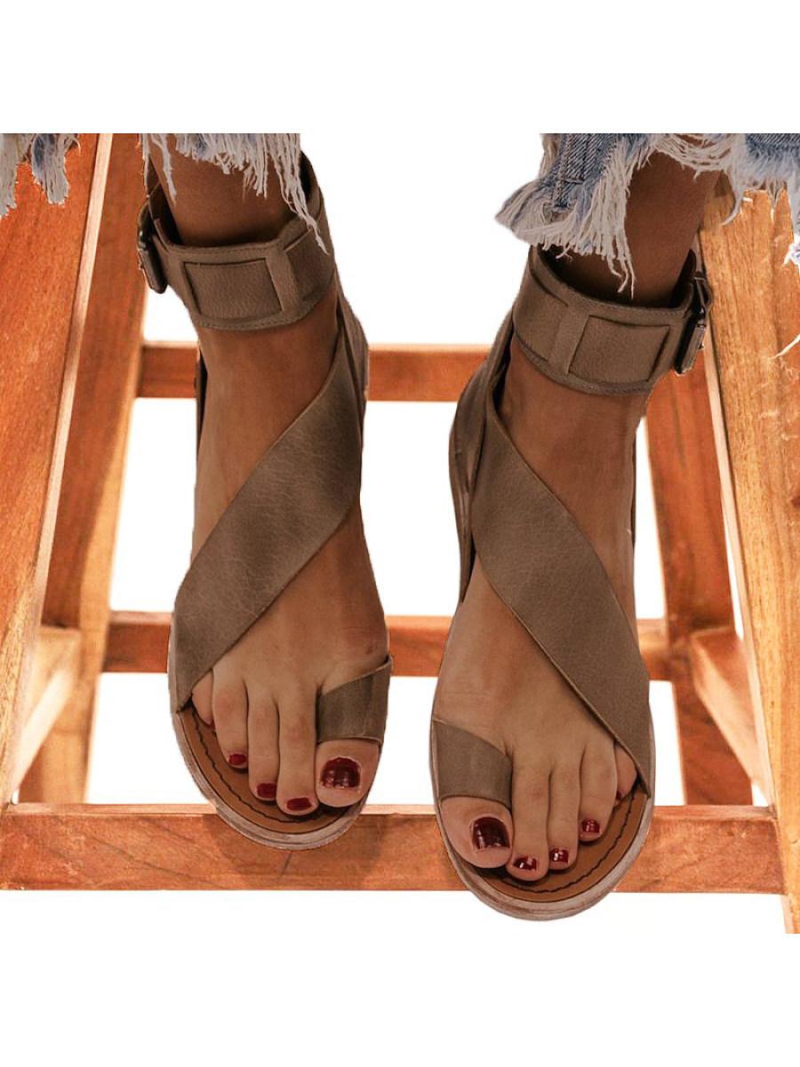 BerryLook Flat high-top fish mouth cutout sandals