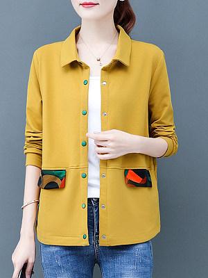 Fashion Colorblock Fold Collar Long Sleeve Jacket, 11399011