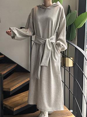 Hooded Strappy Split Long Sleeve Dress, 25741936