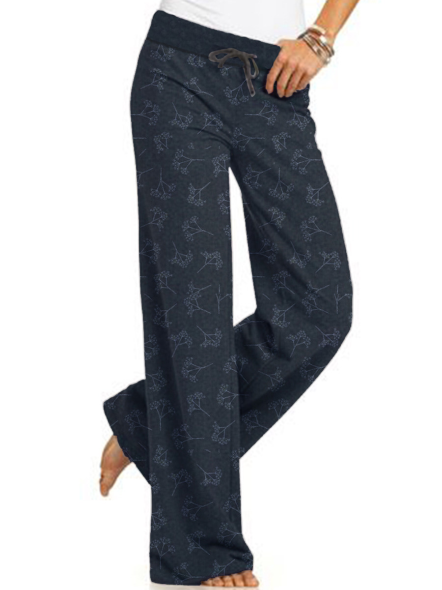 Casual lace-up printed trousers