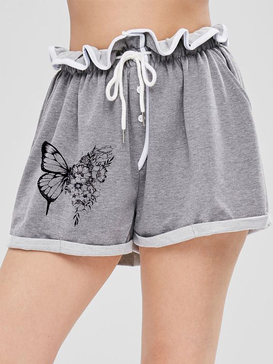 BerryLook Printed lace-up track shorts