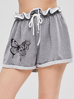 Printed lace-up track shorts фото