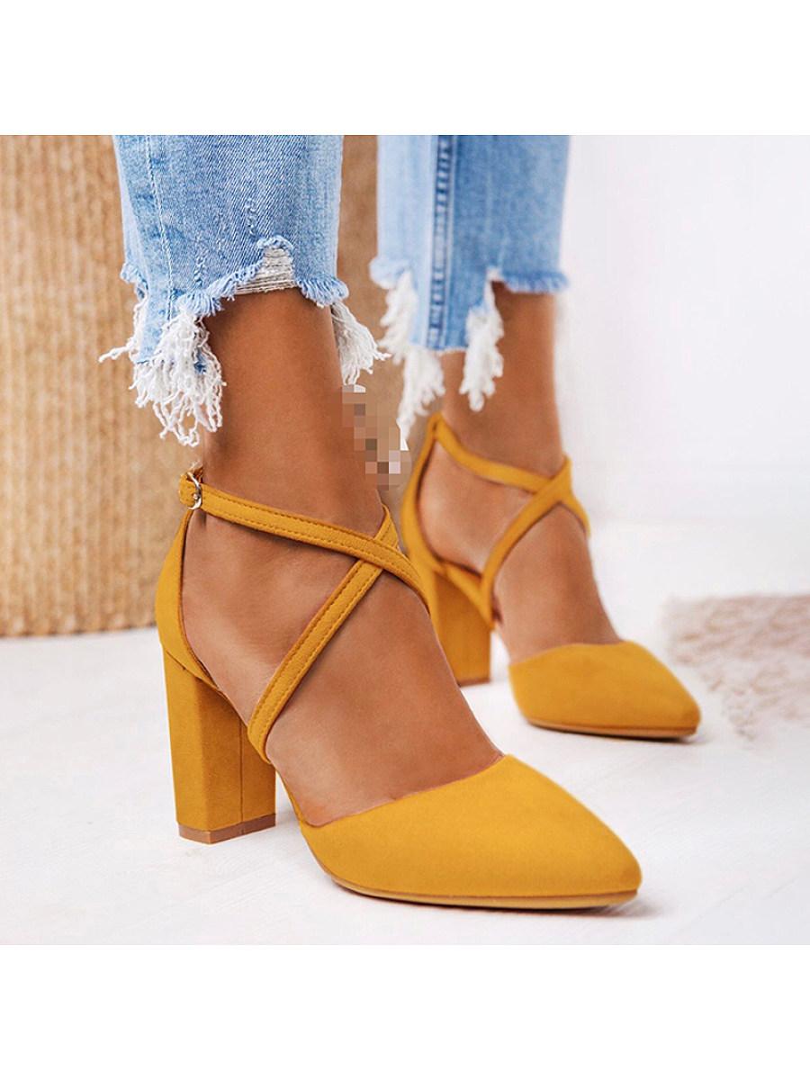 Women's solid color thick heel high heels
