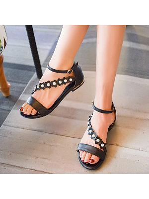 Berrylook Women's Simple Flat Buckle Sandals clothes shopping near me, shoping, Solid Flat Sandals,