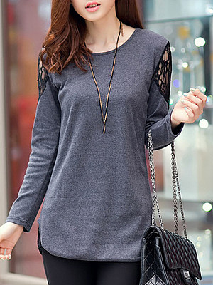 2019 autumn new bottoming shirt female lace long section large size women's clothing was thin wild long-sleeved T-shirt, 10063599