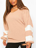 Image of Casual Long Sleeve Contrast Color sweater36