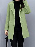 Image of Fashionable temperament slim and thin woolen coat mid-length woolen coat