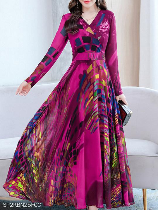 Long Sleeve Waist Printed V-Neck Maxi Dress