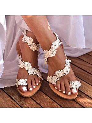 Bohemian Flat Peep Toe Casual Date Flat Sandals фото