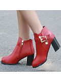 Image of Pointed thick heel women's short boots