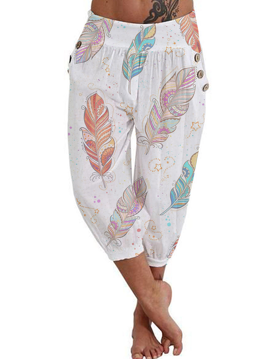 BerryLook Fashionable feather printed casual shorts cropped trousers
