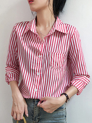 Turn Down Collar Striped Long Sleeve Blouse, 11598484