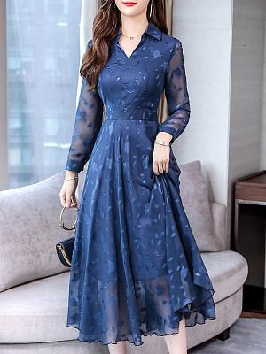 Fashion Fold Collar Solid Color Print Sheer Dress фото
