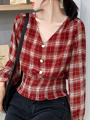 V Neck Plaid Long Sleeve Blouse, 11348878