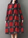 Image of Printed Check Long Sleeve Pocket Dress