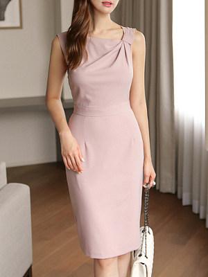 Fashion Plain Bodycon Dress