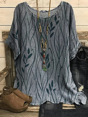 Round Neck Leaf Print Loose Casual Short-sleeved Blouse