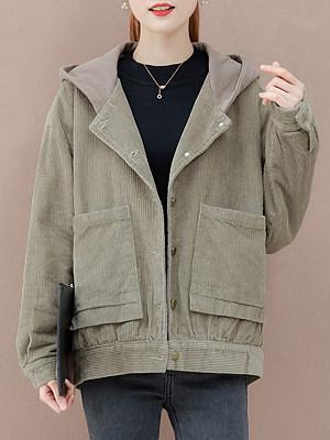 Female loose hooded Corduroy jacket фото