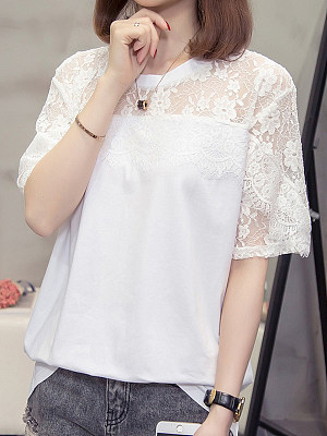 Round Neck Lace Patchwork Short Sleeve T-shirt фото