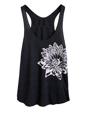 Round Neck Racerback Printed Sleeveless T-Shirt, 11315362
