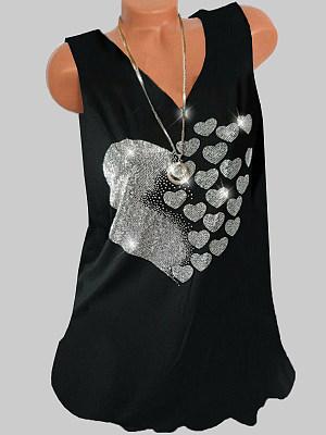 V Neck Beading Sleeveless T-shirt, 23723007