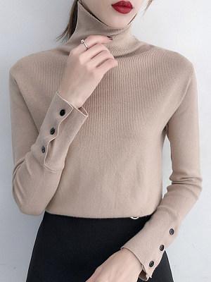 Heap Collar Buttons Plain Long Sleeve Knit Pullover, 10483440