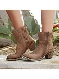 Stylish chunky heel side zipper Martin boots