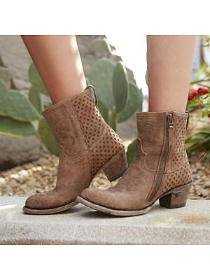 berrylook Stylish chunky heel side zipper Martin boots