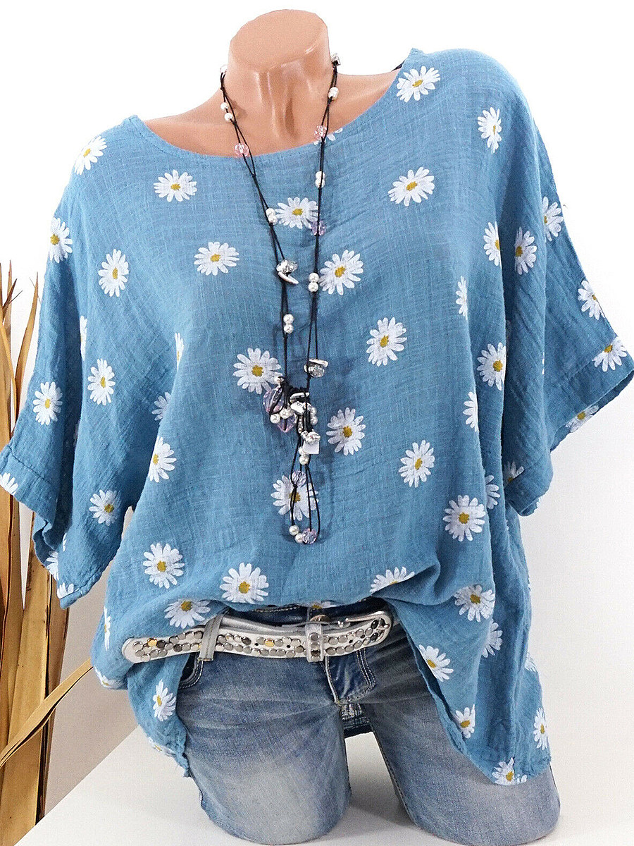BerryLook Round Neck Daisy Print Short Sleeve T-shirt