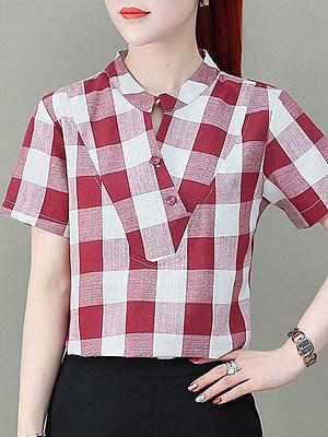 V Neck Plaid Short Sleeve Blouse, 11330477