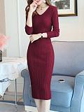 Image of V-Neck Solid Color Long-Sleeved Knitted Dress
