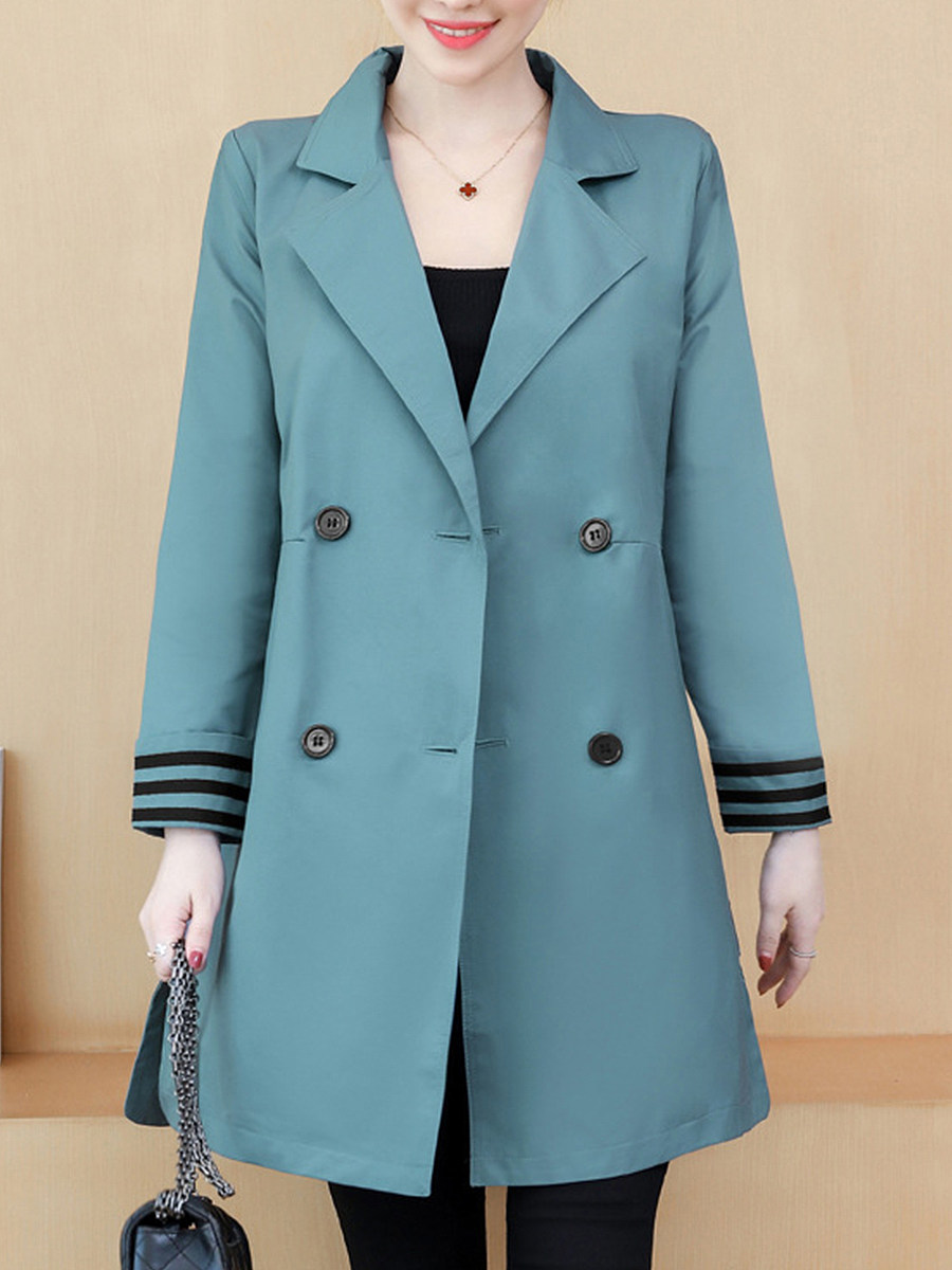Fashion Fold Collar Loose Solid Color Trench Coats - from $30.95
