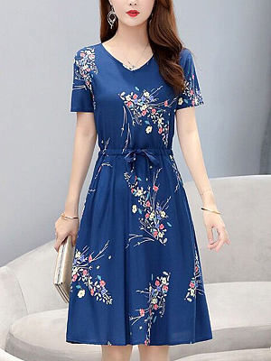 Berrylook Round Neck Short Sleeve Printed Skater Dress online shopping sites, sale, skater dress flare dress, floral skater dress