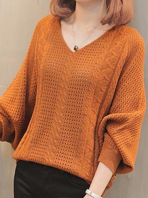 V Neck Elegant Batwing Sleeve Knit Pullover