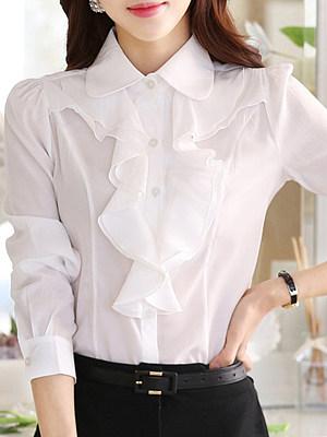 Turn Down Collar Plain Long Sleeve Blouse, 24820019