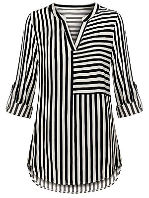 V Neck Striped Long Sleeve Blouse, 11581574