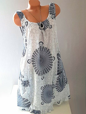 Casual Round Neck Colorblock Print Sleeveless Dress фото
