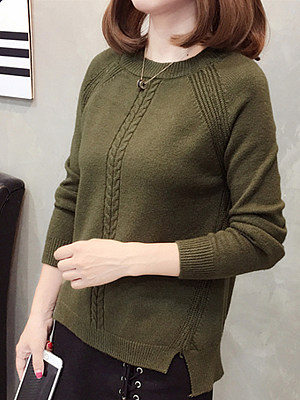 Round Neck Plain Long Sleeve Knit Pullover, 10712803