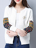 Womens Commuting Round Neck Short Knit Cardigan
