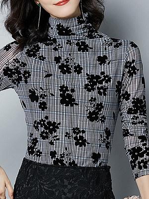 Heap Collar Patchwork Elegant Print Long Sleeve T-Shirt, 11148703
